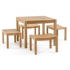5pc Square Pacifica Cafe Set comes with our 36 inch Square Dining Table and 4 Backless Bench Stools with contoured, scooped seats. Perfect for small areas.