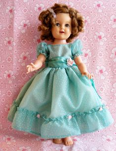 vintage Shirley Temple doll in adorable turquoise dotted Swiss dress