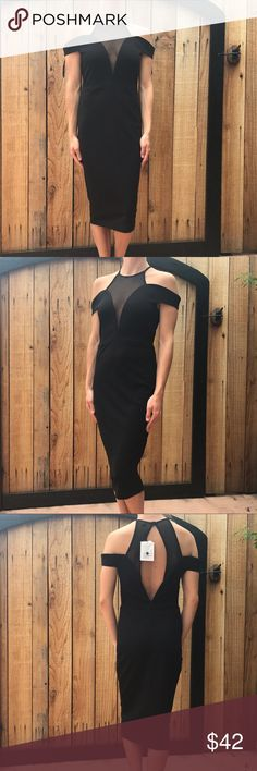 Dance&Marvel NWT Mesh Dress🎉30% OFF ANY BUNDLE Dance&Marvel Boutique Dress. Off shoulder, buttons around back of neck. New with tags. Measurements upon request. Bundle and save. No trades   #dance&marvel #blackmeshdress #mesh #blackdress #lbd dance&marvel Dresses Mini