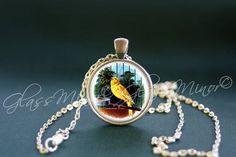 Yellow Bird Pendant, Birds Necklace, Steampunk Antique Wanderlust, Woodland Jewelry, Bird lovers pendant, Birds Pendant, Gift for Her