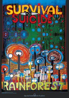 Hundertwasser Save the forest - Rainforest Schützt den Wald Poster Kunstdruck Bild - Kostenloser Versand Friedensreich Hundertwasser, Hundertwasser Art, Earth Day Posters, Van Gogh Sunflowers, Kunst Poster, Art Walk, Survival, Poster Prints, Art Prints