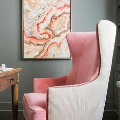 Pink and gray office with warm pink velvet two-tone wingback chair - Light Summer.