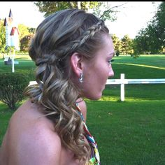 Cute braid, with curls, side pony tail