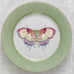Our NEW Apple Lace Butterfly Dessert Plate. Fresh for spring! Also comes in three other colors (Cornflower Lace, Green Lace, and Golden Teardrop).