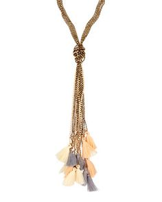 Tri-Color Knotted Tassel Necklace