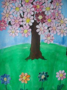 Kvetoucí strom Malba + papírová koláž
