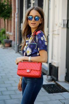 Floral shirts red shoulder bag blue jeans. Street summer everyday clothing women style @roressclothes closet ideas apparel fashion ladies outfit