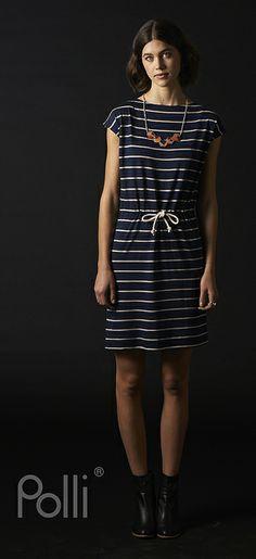 Polli new Merino tunic woven stripe ink
