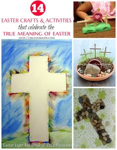 14 Easter Crafts and Activities that teach the real meaning of Easter! Have fun with kids as you reinforce these important truths. Link up your own thoughtful posts!