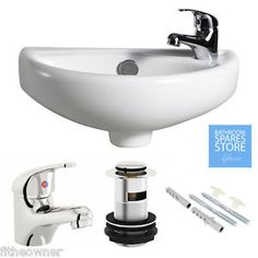 Small Compact Mini Tiny Bathroom Cloakroom Basin Sink Wall Hung 395 + Tap Waste