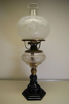 Antique Atterbury Boston Sandwich Glass EAPG Victorian Old Oil Kerosene Lamp | eBay
