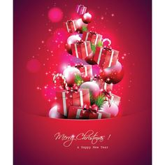 Free vector illustration of Beautiful gift with Christmas balls and tree fir on beautiful Red Christmas greetings card and Happy New year. Christmas Flyer, Cheap Christmas, Christmas Design, Christmas Greeting Cards, Christmas Balls, Christmas Wishes, Red Christmas, All Things Christmas, Xmas