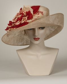 9388VGSP Virginia, ballet peach with scarlet – Louise Green Millinery