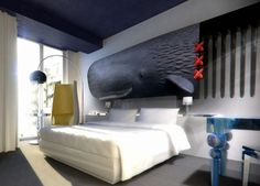 whimsical guestroom interior design Andaz hotel Amsterdam