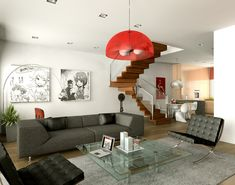 Home Design and Interior Design Gallery of Awesome Red And White Living Room Design