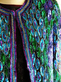 Peacock colored beaded sequined wedding by RetroVintageWeddings
