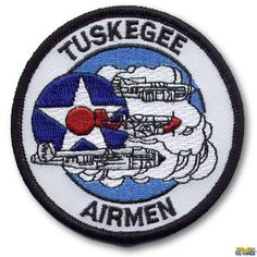 """The Tuskegee Airmen Patch represents the Fighter Squadron. Three aircrafts with Air Force insignia. """"TUSKEGEE"""" at top & """"AIRMEN"""" at bottom. Uss North Carolina, Air Force Patches, Tuskegee Airmen, My War, Cool Patches, Morale Patch, Us Air Force, Us Navy, Black History"""