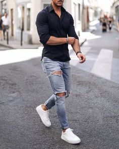 Stylish Mens Outfits, Casual Outfits, Men Casual, Casual Wear, Tomboy Outfits, Summer Outfits, Grunge Outfits, Mode Man, Womens Ripped Jeans