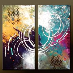 2pc Modern ABSTRACT Art Painting 20x20 Original by wostudios
