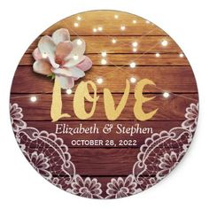 Wedding Thank You Wood Floral String Lights Lace Classic Round Sticker - rustic country gifts style ideas diy