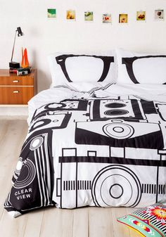 Worth a Thousand Worlds Duvet Cover in F/Q - Nifty Nerd, Best, Cotton, Woven, Black, White, Print, Exclusives