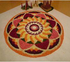 50 Best Pookalam – Indian Floral Design For Onam Festival Rangoli Designs Simple Diwali, Rangoli Designs Flower, Free Hand Rangoli Design, Rangoli Kolam Designs, Colorful Rangoli Designs, Rangoli Designs Images, Flower Rangoli, Beautiful Rangoli Designs, Diya Rangoli