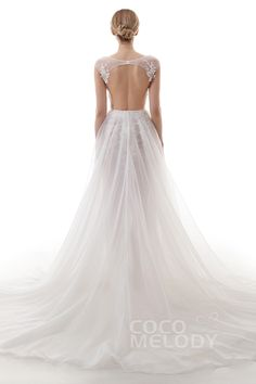 Latest Sheath-Column Bateau Natural Chapel Train Lace Organza and Tulle Ivory Cap Sleeve Backless Wedding Dress with Appliques and Beading LD4446#Cocomelody#weddingdresses#bridalgown#