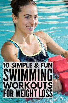 This collection of 10 fabulous swimming workouts for weight loss is perfect for beginners (and for runners!) who are trying to get back in shape and don't want to spend their entire day swimming laps. These workout plans will help you get the abs of your Swimming Pool Exercises, Pool Workout, Swimming Holes, Weight Loss Plans, Weight Loss Transformation, Losing Weight Tips, Weight Loss Tips, Water Aerobics, Workout For Beginners