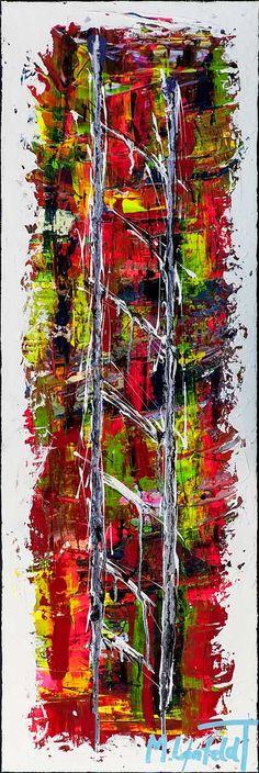 120x40 cm - Art by Lønfeldt - original abstract painting, modern textured art, colorful
