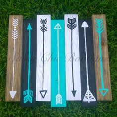"""26"""" x 24"""" Wooden Pallet Art with Turquoise Arrows (Customizable Colors) This is our stock inventory picture. Please contact us for custom colors at no addition"""