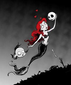 Tim Burton Style fan art Little Mermaid meets Jack Skellington by Lillian Ripley tim burton goth art fanart dark gothic twisted Tim Burton Art Style, Tim Burton Stil, Tim Burton Kunst, Estilo Tim Burton, Tim Burton Drawings Style, Jack Tim Burton, Tim Burton Artwork, Cartoon Kunst, Cartoon Art