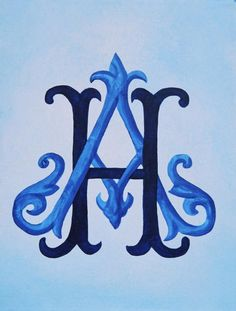 Entwined Victorian Monogram by Katie Fitzgerald - Entwined Victorian Monogram Painting - Entwined Victorian Monogram Fine Art Prints and Posters for Sale Monogram Design, Monogram Styles, Monogram Fonts, Monogram Initials, Monogram Letters, Monogram Canvas, Flower Letters, Embroidery Monogram, Embroidery Fonts