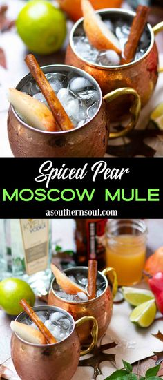 Usher in Autumn with a Spiced Pear Moscow Mule! This seasonal twist to the classic cocktail is refreshing and easy to make with pear infused simple syrup, vodka, ginger beer, and a squeeze of fresh lime. It's the perfect drink to sip on this fall. Milk Tea Recipes, Sweet Tea Recipes, Iced Tea Recipes, Drinks Alcohol Recipes, Yummy Drinks, Wine Recipes, Fall Drinks Alcohol, Chai Tea Recipe, Mocha Recipe