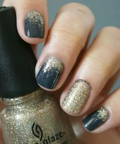 Dark Blueish/Navy and gold nails