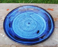 8.5 Inch Clay Plate in Black and Twilight Blue glaze. For sale at www.etsy.com/shop/bethpiggott for $9.50