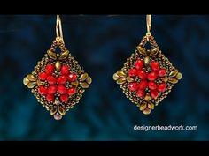 """Video Tutorial - Beaded Earrings """"Belleza"""". Bronze and red beaded earrings."""