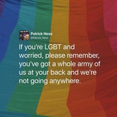 thank you. to all the allies, supporters, and lgbt members. thank you for sticking up for us/each other. thank you for being strong and fighting when we need it the most.