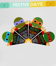The MOST ADORABLE TMNT Ninja Turtles (inspired) invitations you ever did see!  Pizza slices, one of Leonardo, Donatello, Michelangelo and Raphael!