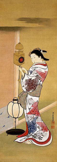 Japanese hanging scroll, Nishikawa Sukenobu, Clock and beauty, Edo Period, 18th century.