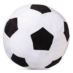 "Soccer Ball Shaped Decorative Pillow - White/Black (11""x11""x11"")"