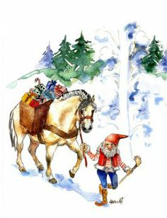 Sharon Aamodt - a helpful Nisse leading a Fjord Horse loaded with gifts through Mountain Pass Scandinavian Gnomes, Scandinavian Christmas, Christmas Horses, Christmas Images, David The Gnome, Pull Wagon, Fjord Horse, Norwegian Christmas, Elves And Fairies