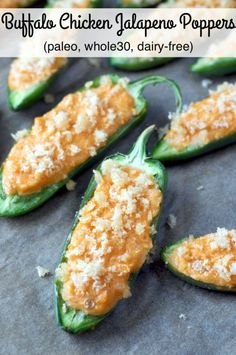 Paleo Buffalo Chicken Jalapeno Poppers combine all your favorite buffalo wing flavors in a spicy bite-sized, gluten-free and whole30 gameday appetizer!