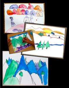 Wax Resist Landscape - geography integrated art lesson focusing on line, shape, color, and space.