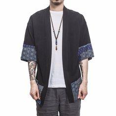 Item Type: Kimono Cardigan Material: Cotton Blend Sleeve: Long Features: Kimono Cardigan, Vintage Kimono, Asian Style Cardigan Size Shoulder (cm) Bust (cm) Sleeve (cm) Length (cm) M 43 100 61 68 L 44 104 … Kimono Shirt, Kimono Diy, Gilet Kimono, Mode Kimono, Men's Kimono Cardigan, Stitch Shirt, Vintage Kimono, Vintage Linen, Kimono