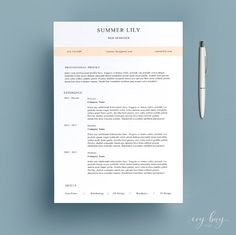 Modern Resume Template Cover Letter Cv Template Simple Resume
