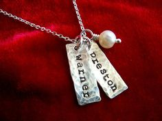 Necklace with Two Kids Names Sterling Silver Stamped Distressed Tags - Love this for a gift or even for myself someday!