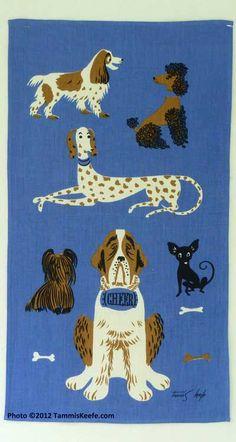 Dog breeds vintage linen tea towel by Tammis Keefe