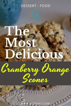 Try these delicious cranberry orange scones that are perfect for breakfast or dessert! They are so easy to make they taste so good! You can heat them in the microwave for 15 seconds to make them even better! Check out the easy scones recipe at #ozofsalt #cranberryorangescones #sconesrecipe #cranberryorange #easyrecipe #food Cranberry Orange Scones, Easy One Pot Meals, Yummy Food, Tasty, Healthy Dinner Recipes, Microwave, Healthy Lifestyle, Healthy Eating, Dessert