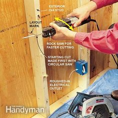 Cutting through wall studs with a reciprocating saw. - Reciprocating Saw Uses The ultimate remodeling tool—with attitude Read more: http://www.familyhandyman.com/tools/saws/reciprocating-saw-uses/view-all