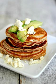 Protein Pancakes with Avocado & Feta Cheese!  Don't knock it until you try it!   #cakeporn #proteinpancake #lowcarb #protein #fitfoodie #fitspo #fitfood #fitness #postworkout #breakfast #healthysnack #healthyfat